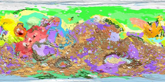 Mars Global Geologic Map 1802ABC, prepared from Viking orbital photographs and Mars Global Surveyor MOLA data