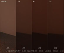 The view from underneath, 2007: Opportunity photographed the sky as a dust storm intensified.