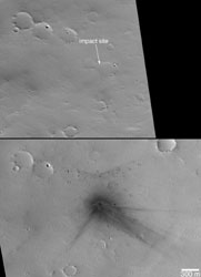 Bombardment by solar system debris continues, marked by impact craters that appear on MOC and HiRISE re-imaging of sites