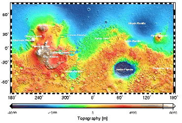Topographical map of Mars from MOLA data